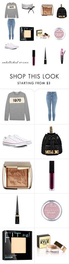 """Embellished shoes"" by ceiraxox ❤ liked on Polyvore featuring Bella Freud, Topshop, Converse, Moschino, Hourglass Cosmetics, L'Oréal Paris, Christian Louboutin and Maybelline"