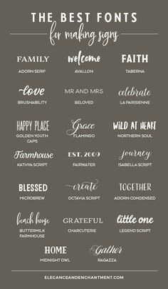 The Best Fonts for Making Signs - Elegance & Enchantment - Searching for the perfect font to use on your next hand lettered sign? Here's a roundup of twenty - Handwritten Fonts, Calligraphy Fonts, Typography Fonts, Cursive Fonts, Hand Lettering Fonts Free, Decorative Lettering, Tattoo Lettering Fonts, Cool Lettering, Lettering Styles