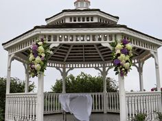 Gazebo arrangements for a coastal wedding using purple and white hydrangeas Purple Hydrangea Wedding, Wedding Flowers, White Hydrangeas, Gazebo, Coastal, Outdoor Structures, Wedding Ideas, Floral, Inspiration