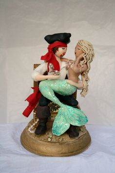 Mermaid and Pirate Wedding cake topper customized by CrimsonMuse