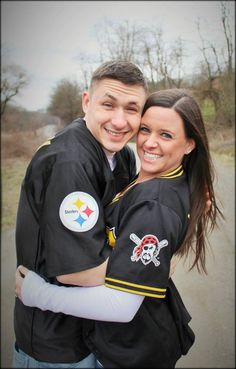quite possibly my favorite shot. our Steelers & Pirates jerseys. he's freezing & I'm cheesing.
