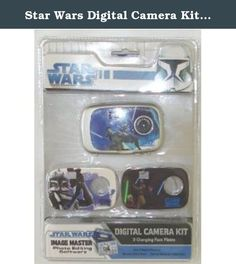 Star Wars Digital Camera Kit w/ 3 Changing Face Plates. Included Image Master Photo Editing Software, you can edit and create new photos on your computer by adding date and text, frames, shapes, clip art, sound clips and more. You can also personalize your own photos and create unique images including suiting yourself up and becoming a Galactic Hero or adding your favorite hero to your own picture. The software also includes a game center where you can challenge your wits with 5 action...