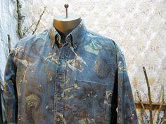 Vintage Pendleton Big Print shirt mountains rucksacks camping fishing. $24.00, via Etsy.