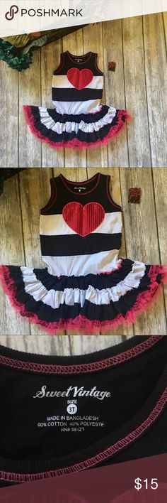 Sweet Vintage Ruffle Heart Dress Sweet Vintage Skater girls dress. Size 3T black and white ruffles. Lined with tile for added ruffles. New with tag(tag is ripped in half) cotton polyester blend material. Fun stretchy material. sweet vintage Dresses Casual