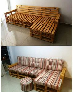Pallet L-shape couch frame - 20 pallet ideas that you can use for your home . Pallet L-shape couch frame – 20 pallet ideas that you can build yourself for your home 99 pallets more – Pallet Ideas, Wooden Pallet Projects, Wooden Pallet Furniture, Furniture Plans, Diy Furniture, Furniture Design, Wood Pallets, Garden Furniture, Outdoor Furniture