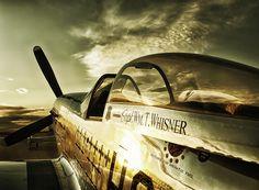 Golden light on a P-51 Mustang