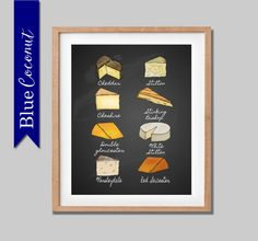 Chalkboard cheese Kitchen Art -Print -Kitchen Decor- poster traditional- british cheese -printable -cheddar stilton -famous cheese -London