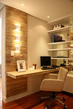 Apartamento decorado - Tradition Brooklin (São Paulo - SP). Beautiful work space...like how the desk is cantilevered out from the shelves.