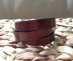 Beautifully Embossed Leather Wrap Bracelet  Brown by GratifyDesign, $20.00