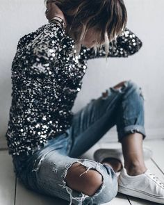 sequins, jeans and white trainers LOVE