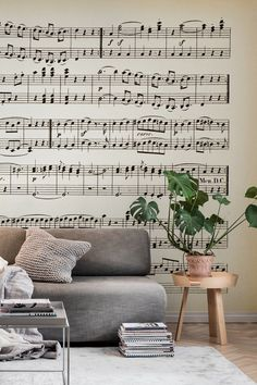 Notes wall mural from happywall #mural #happywall #wallmural #wallpaper #music #crescendo #bedroom #beige #sepia #wallpapers #wallmurals