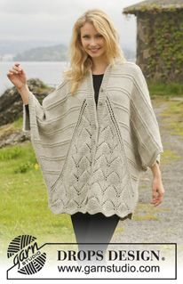 Free Knitting Pattern for Ripple Tide Sweater Wrap -Oversized cardigan in three pieces with lace panels in front and back that add a natural scallop to the hem. Designed by DROPS Design. S/ M – L/XL – (Top Crochet Drops Design) Crochet Jacket, Knit Jacket, Knit Crochet, Drops Patterns, Lace Patterns, Crochet Patterns, Knitted Cape, Knitted Shawls, Sweater Knitting Patterns