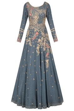 Grey floral embroidered kalidaar kurta set available only at Pernia's Pop Up Shop. Indian Wedding Guest Dress, Indian Wedding Outfits, Indian Outfits, Indian Clothes, Bollywood Outfits, Pakistani Outfits, Bollywood Fashion, Anarkali Dress, Red Lehenga