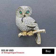 Vintage Owl Brooch Rhinestone and Enamel.