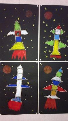 Space Crafts For Kids, Space Preschool, Art For Kids, Maternelle Grande Section, Transportation Crafts, 2nd Grade Art, Kids Art Class, Kindergarten Art, Art Lessons Elementary
