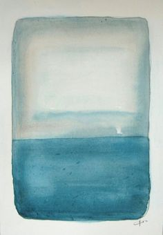 Misty Blue Dusk Original watercolor painting small by VESNAsART