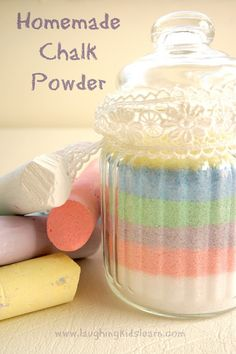 Instructions on making your very own chalk powder, which can be later used in many fun activities for kids!  (Laughing Kids Learn) @QUEENBROOKEEEEE