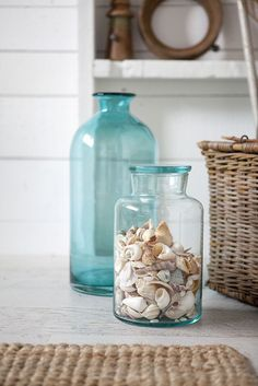 Tara Dennis - Watermark collection - Glass jars with shell collection Beach Cottage Style, Beach Cottage Decor, Coastal Cottage, Coastal Style, Coastal Decor, Coastal Living, Coastal Bedrooms, Diy Beachy Decor, Beach Decor Bathroom
