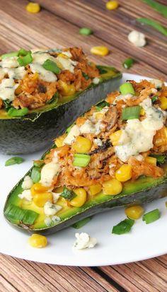 Chicken Stuffed Avocado Recipe   YummyAddiction.com