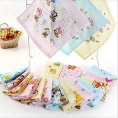 High Quanlity Hand Towel -3 pc/lot 100% Cotton Baby Towel Soft Kids Face Towel 26*26cm 2 Layers Gauze Printed Muslin Towel Brand