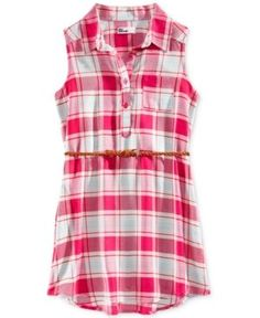 Epic Threads Plaid Shirt Dress, Big Girls (7-16), Created for Macy's - Red