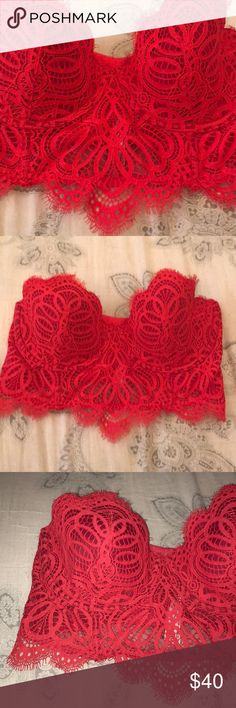 Victoria's Secret Sexy red corset bra Victoria's Secret Sexy red corset bra with great lace detail sized 34 D Victoria's Secret Intimates & Sleepwear Bras