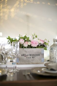 Vintage wooden box filled with fresh flowers- Kloofzicht Lodge Wedding - Jack…