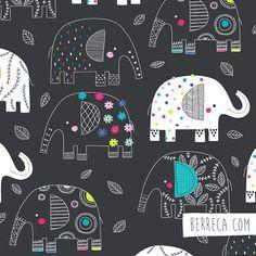Pretty elephants ☀️#berreca #design #illustration #elephants #surface #surfacepattern #illustrator #drawing