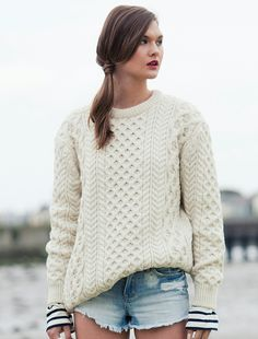 Ladies Blasket Aran Sweater - White and Navy