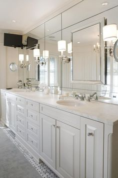 Bathroom Ideas, Modern Bathroom Wall Sconces With Large Frameless Mirror Above Double Sink Bathroom Vanity Under Recessed Lights: Selecting Sweet Bathroom Wall Sconces for Your Bathroom