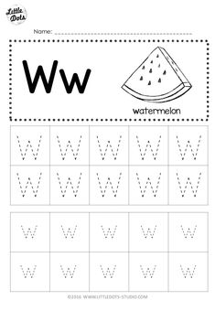 Free Letter W Tracing Worksheets Letter W Activities, Alphabet Writing Worksheets, Pre K Worksheets, Printable Preschool Worksheets, Alphabet Tracing, Free Kindergarten Worksheets, Preschool Writing, Preschool Letters, Kindergarten Class