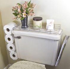 Toilet Caddy - 3 in 1 Shelf, Tissue and Magazine Storage. Unique bathroom organizer combines a toilet paper and magazine holders, as well as a shelf that all fit on your toilet tank.