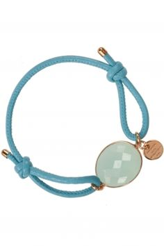 iris I #blue leather bracelet with faceted #chalcedony I designed by marjana von berlepsch I NEWONE-SHOP.COM