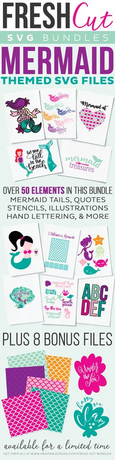 Mermaid SVG Files for crafts, iron on shirts, confetti, and more! Find cute mermaid graphics, plus other sea creatures in this bundle!