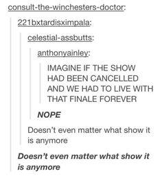 So true! Doctor Who, Supernatural, Sherlock. Fandoms Unite, Tumblr Stuff, My Tumblr, Jorge Ben, Nos4a2, Mrs Hudson, Fandom Crossover, Geek Out, Thing 1