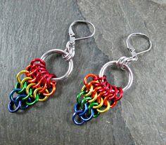 Rainbow  Earrings - Chainmaille Earrings - Chainmail Fans - Pride Earrings - Chainmaille Jewelry