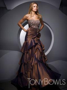 Mermaid Floor-length Strapless Dress Brown Taffeta Tony Bowls Evening 1083 Sequins Beads Layered