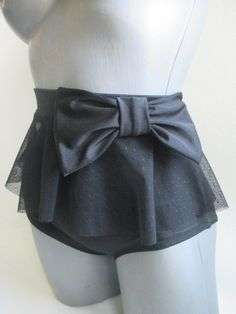 black highwaisted bow bikini bottom pin-up ruffle point by magneti