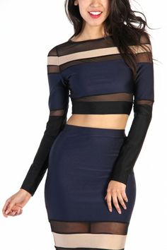 LoveMelrose.com From Harry & Molly | Mesh Cut Out Stripe Crop Top - Navy