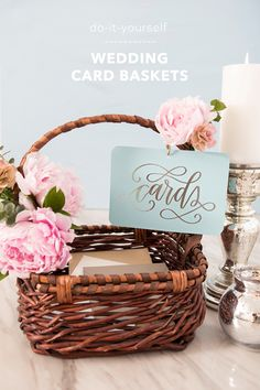 How to make the cutest wedding card baskets! Wedding Card Basket, Gift Card Basket, Wedding Gift Card Box, Wedding Gift Baskets, Wedding Shower Cards, Wedding Cards, Diy Wedding, Wedding Box For Money, Wedding Things