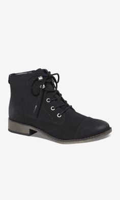 DISTRESSED LACE-UP ANKLE BOOT from EXPRESS BERRY COLOR