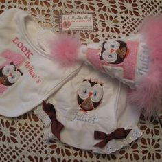 Owl, Personalized  Appliqued First Birthday Hat, Bloomers, and Bib ...... | sockmonkeyshop - Children's on ArtFire