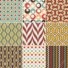 Seamless Retro Geometric Pattern Royalty Free Cliparts, Vectors, And Stock Illustration. Geometric Patterns, Graphic Patterns, Tile Patterns, Pattern Art, Fabric Patterns, Color Patterns, Geometric Shapes, Textile Design, Fabric Design