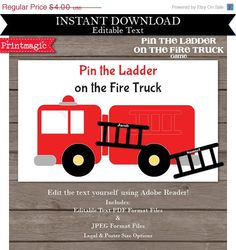 SALE Pin the Ladder on the Fire Truck Printable by printmagic