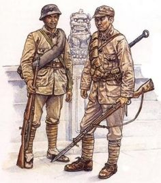 Two Chinese Nationalist soldiers, 1937. The Soldiers on the left is armed with a Hanyang rifle. The soldier on the right is armed with Chiang Kai-shek rifle and bayonet. On his back he also carries a da-dao broadsword.