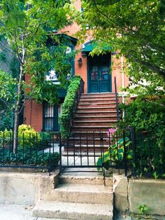 Jersey City Brownstone stoop. Talk about beautiful curb appeal!!