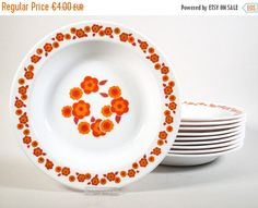 ON SALE Arcopal Lotus Soup plates deep plates Lotus flower