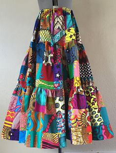 African Wax Patchwork Multi Print Peasant Skirt With African Print Fashion, Fashion Prints, Africa Fashion, African Wear Dresses, Style Africain, Peasant Skirt, Patchwork Dress, Printed Skirts, Vintage Outfits