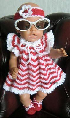 Voorbeeldkaart - Setje voor BABY Born® - Categorie: Haken - Hobbyjournaal uw hobby website 12 Inch Doll Clothes, Crochet Doll Clothes, Knitted Dolls, Girl Doll Clothes, Doll Clothes Patterns, Crochet Dolls, Barbie Clothes, Doll Patterns, Clothing Patterns