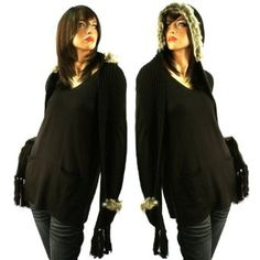Winter Faux Animal Fur Chunky Knit Hooded Scarf Pullover Hoodie Hat Pocket Black SK Hat shop. $19.95